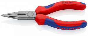 Clește plat-rotund cu tăiș, patent cu cioc drept, 140 mm