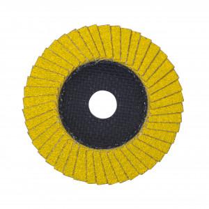 Disc lamelar Ø 125 x 22.2 mm pentru șlefuire oțel inoxidabil, bronz, titan și aluminiu