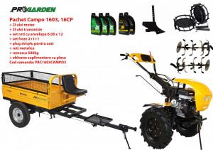 Pachet motocultor Campo 1603, benzina, 16CP, 2+1 trepte, remorca 500kg, accesorii, ulei motor si transmisie incluse