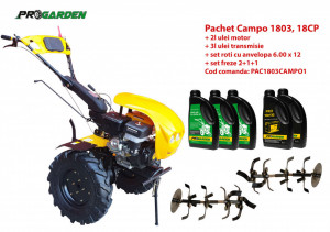 Pachet motocultor Campo 1803, benzina, EURO5, 18CP, 2+1 trepte, ulei motor si transmisie incluse