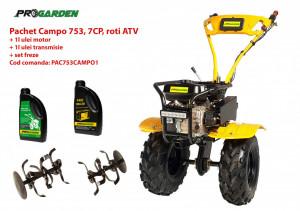 Pachet motocultor Campo 753, benzina, 7CP, 2+1 trepte, roti ATV, ulei motor si transmisie incluse