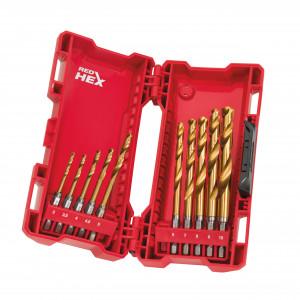 Set burghie Shockwave HSS-G TiN Red Hex în casetă de plastic (10 buc)