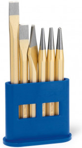 Set cu scule de lovire Rennsteig, dălți, punctatoare, în stand de plastic, 6 piese