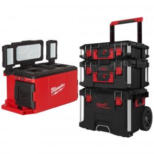 Kit 3 valize PACKOUT + lanterna 3000 lumeni compatibila cu acumulatorii M18