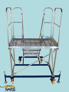 Platforma la 60 0 , mobila, rigidizata, baza otel, structura aluminiu, podina lata, tip PBF
