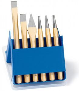 Set cu scule de lovire Rennsteig, dălți, punctatoare, în cutie de plastic, 6 piese
