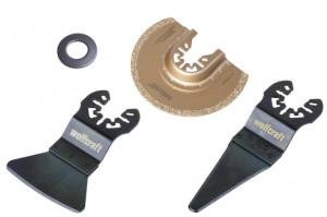 """Set de 3 accesorii """"Standard"""" pentru ferăstrău cu vibraţii pentru repararea rosturilor, suport de prindere universal"""
