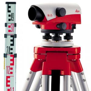 Set nivela optica Leica NA 724 cu trepied si stadie de 5 m