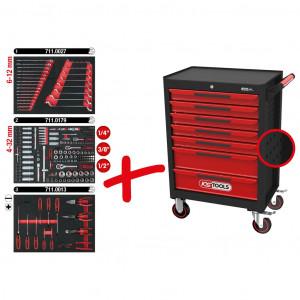 Carucior de atelier KS TOOLS ECOline cu 7 sertare si 215 unelte premium