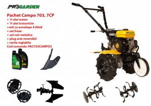 Pachet motocultor Campo 703, benzina, 7CP, 2+1 trepte, 2+1 freze, accesorii PR2, ulei motor si transmisie incluse