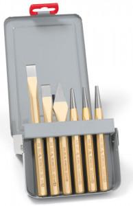 Set cu scule de lovire Rennsteig, dălți, punctatoare, în cutie metalică, 6 piese