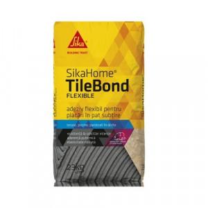 Adeziv flexibil pentru placari in pat subtire SikaHome Tile Bond Flexible, gri, 20 kg