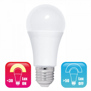 Bec LED cu Fotocelula model glob A60 9W=85W 6400k lumina rece