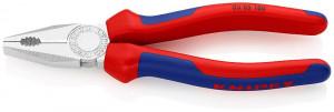 Cleste combinat cromat, patent, manere multicomponent, KNIPEX, 180 mm