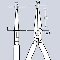 Clește cu cap semirotund cu tăiș, patent cu cioc angular, mânere multicomponent testate VDE KNIPEX