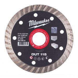 Discuri diamantate DUT Milwaukee, viteza TURBO in materiale constructii