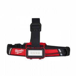 Lanterna frontala pentru casca protectie reincarcabila USB Milwaukee L4 HLRP, IP 54, 600 lumeni, livrata cu acumulator