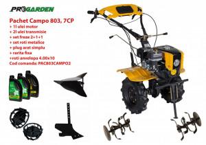Pachet motocultor Campo 803, benzina, 7CP, 2+1 trepte, 2+1+1 freze, plug bilonat, accesorii PS1, ulei motor si transmisie incluse