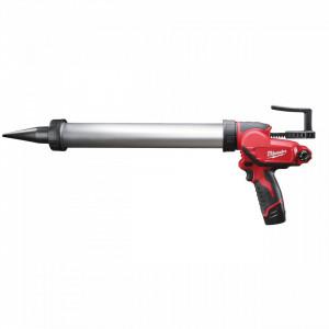 Pistol de silicon Milwaukee M12 PCG/600A-201B, tub 600 ml, livrat cu acumulator, geanta