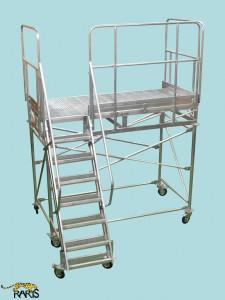 Platforma aluminiu mobila cu podina extinsa, la 60 grade Gmax: 400 kg - tip P2M60