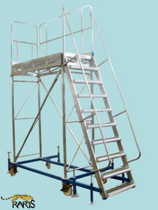 Platforma la 60 0 , mobila, rigidizata, baza otel, structura aluminiu, cu podina lunga, tip PBL