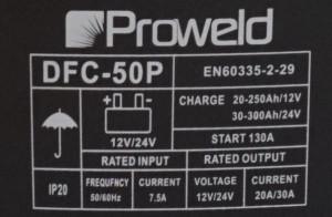 ProWELD DFC-50P redresor acumulatori 12V/24V, functie Start