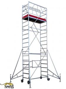 Schela din aluminiu, , profesionala, mobila si pliabila, cu inaltime maxima de lucru: 6.6m