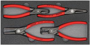 Set Cleşti KNIPEX de precizie pentru inele siguranţă in tavă de spumă, 4 piese