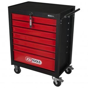 Carucior de atelier pentru scule, KS TOOLS ECOline, negru/rosu, 7 sertare