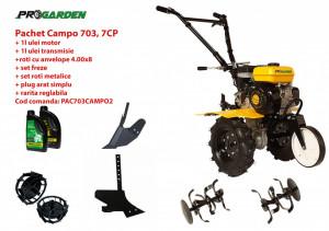 Pachet motocultor Campo 703, benzina, 7CP, 2+1 trepte, 2+1 freze, accesorii PS1, ulei motor si transmisie incluse