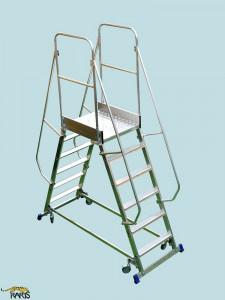 Scara mobila cu platforma, din aluminiu, dubla, la 70 grade, roti cu arc, produs , tip PDRA