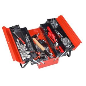 Trusa de scule pentru mecanici marca Kronus din 133 de piese in cutie de tabla cu 5 compartimente 900514