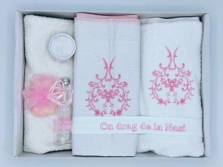 Trusou botez broderie roz