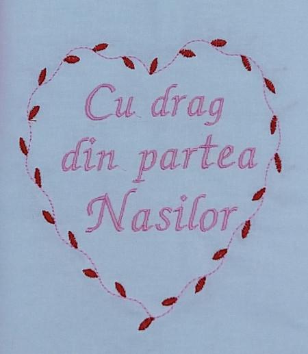 """Trusou botez """"Cu drag din partea Nasilor"""", roz"""