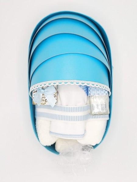 Trusou botez bentiță bleu, in landou