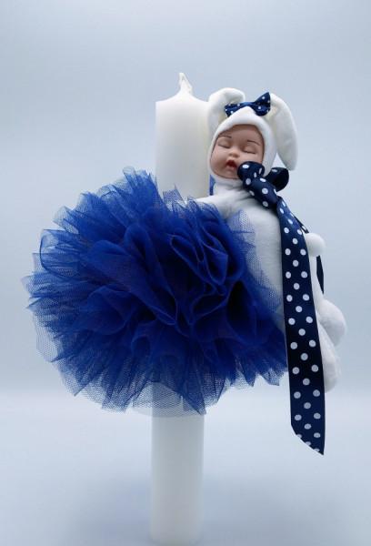 Lumanare botez cu dantela bleumarin si bebelus