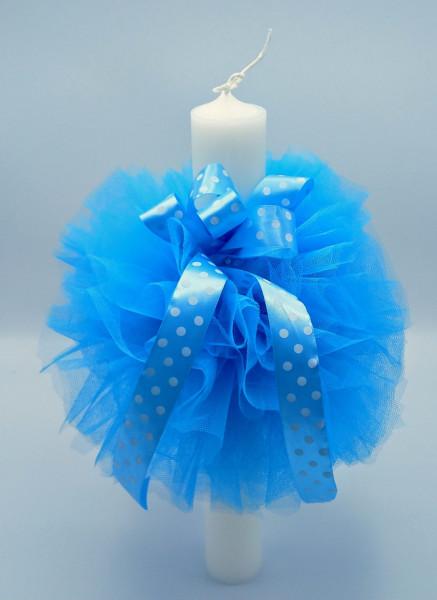 Lumanare botez cu dantela bleu