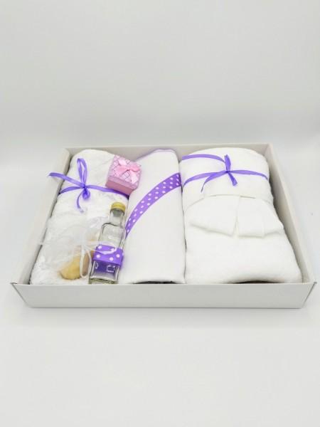 Trusou botez bentiță mov, in cutie cu capac alb