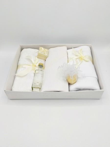 Trusou botez bentiță crem, in cutie cu capac alb