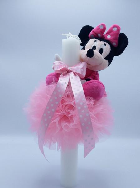 Lumanare botez dantela roz si Minnie