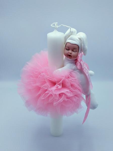 Lumanare botez cu dantela roz si bebelus