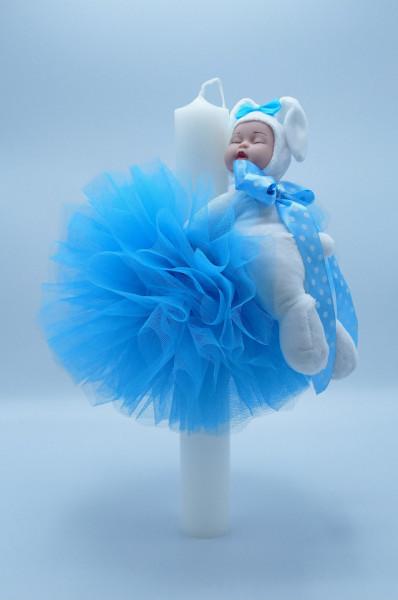 Lumanare botez cu dantela bleu si bebelus