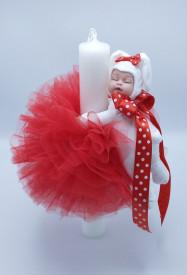 Lumanare botez cu dantela rosie si bebelus