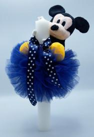 Lumanare botez dantela bleumarin si Mickey