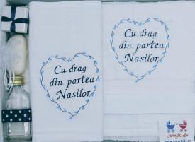 """Trusou botez """"Cu drag din partea Nasilor"""", bleumarin"""