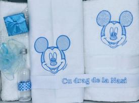Set trusou si lumanare botez Dany Kids, Mickey brodat bleu