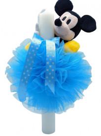 Lumanare botez cu dantela bleu si Mickey