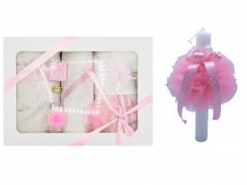 Set trusou si lumanare botez Dany Kids, roz, in cutie