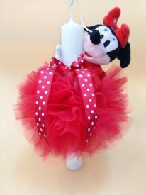 Lumanare botez dantela rosie si Minnie