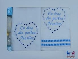 """Trusou botez """"Cu drag din partea Nasilor"""", bleu"""